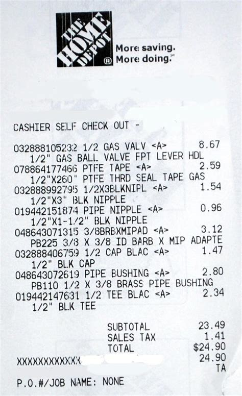 home depot receipt template home depot receipt