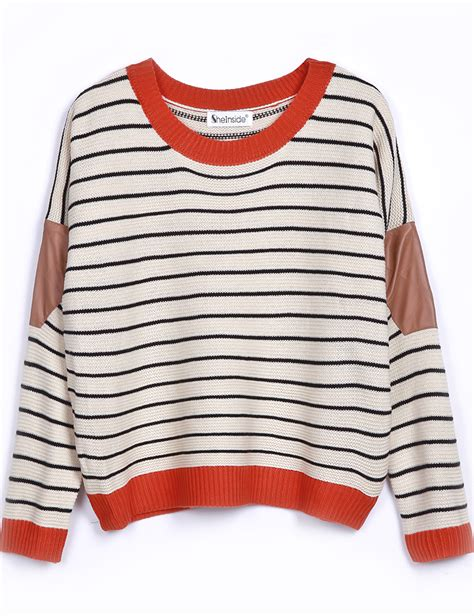 Stripe Sleeved Sweater 15217 beige contrast leather sleeve striped sweater shein