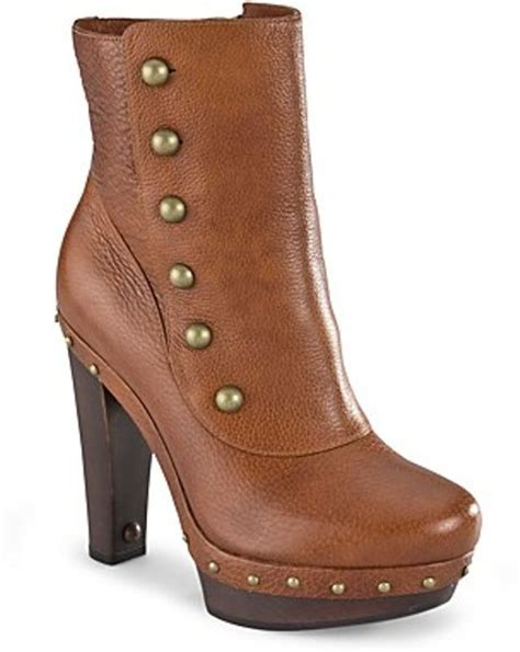 high heel ugg boots ugg button booties cosmina high heel in brown chestnut