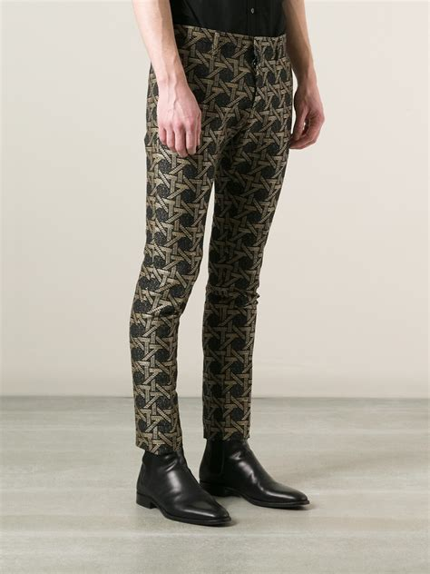 black patterned trousers dsquared 178 woven patterned trousers in black for men lyst