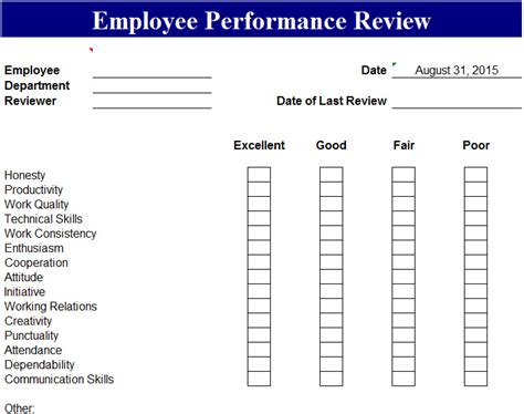 employment review template employee performance review template my excel templates