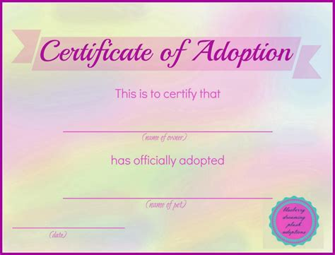 pet adoption certificate template blueberry dreaming printable stuffed animal adoption