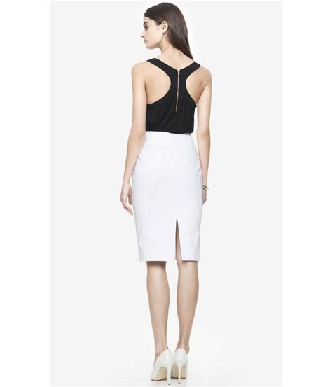 express high waist midi pencil skirt white in white