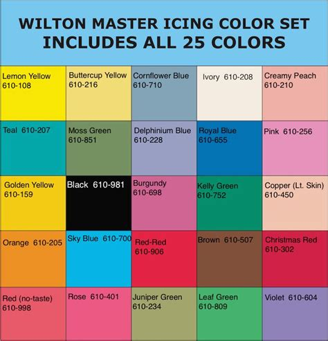 wilton icing color chart wilton 174 icing colors chart color charts