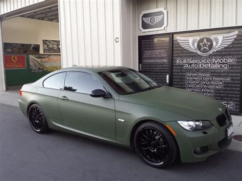 olive green bmw bmw olive drab vinyl wrap color change from black to