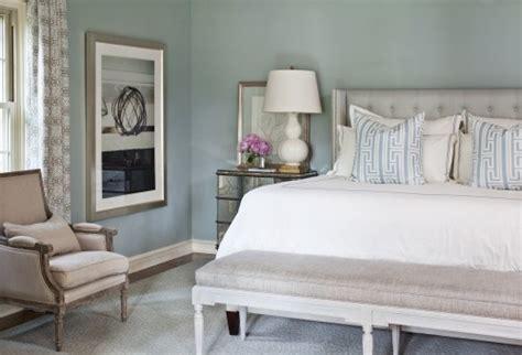 soft blue bedroom soft whitewash effect padded headboard mirrored