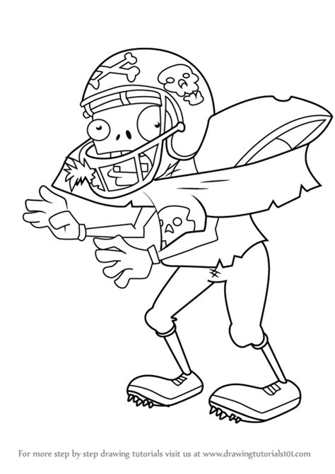 zombie drawing tutorial learn how to draw giga football zombie from plants vs