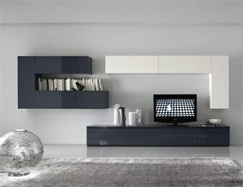 Impressionnant Decoration Salon Blanc Et Gris #6: meuble-TV-blanc-gris-design.jpeg