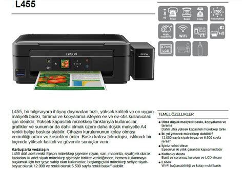 Printer Epson Fotokopi epson l455 taray箟c箟 fotokopi wi fi m 252 rekkep tankl箟 fiyat箟