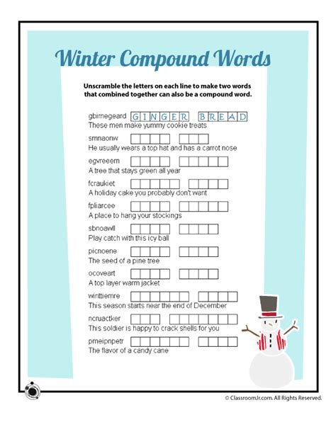 free printable winter word games winter compound words vocabulary word scramble worksheet