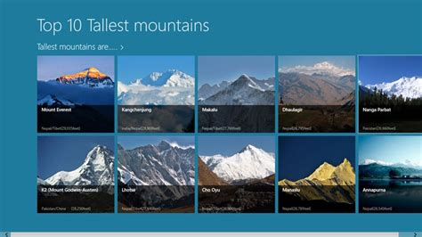 top 10 tallest mountains in the world for windows 8 and 8 1