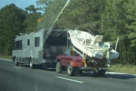 what does it to motor boat someone motorhome towing a truck boat trailer what could go wrong