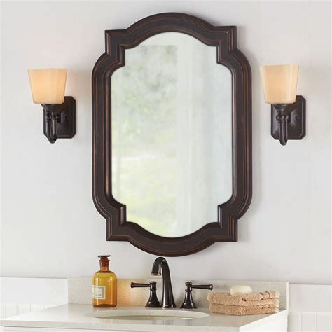decorative bathroom wall mirrors new hanging bathroom wall mirror vanity framed bronze home