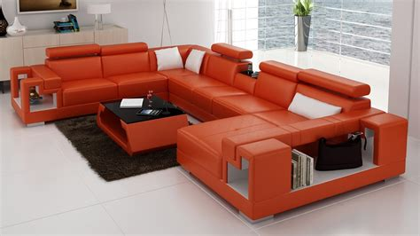 divani casa 6138 modern orange and white leather sectional
