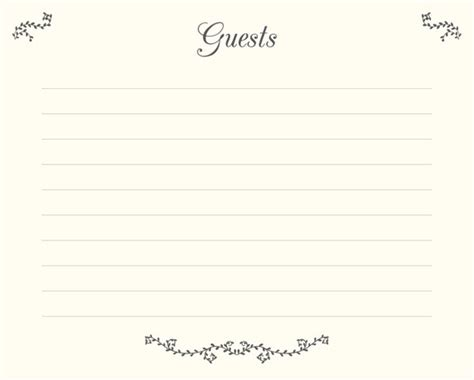 Wedding Guest Book Pages Print Guests Template Lined Pages Guest Book Template