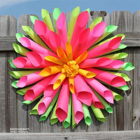 How To Make Paper Flower Decorations - dahlia paper flower wreath by instructables bigdiyideas