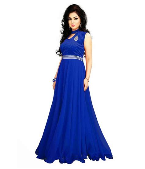Bhanderi Enterprise Blue Georgette Gowns Snapdeal price. Dresses Deals at Snapdeal. Bhanderi