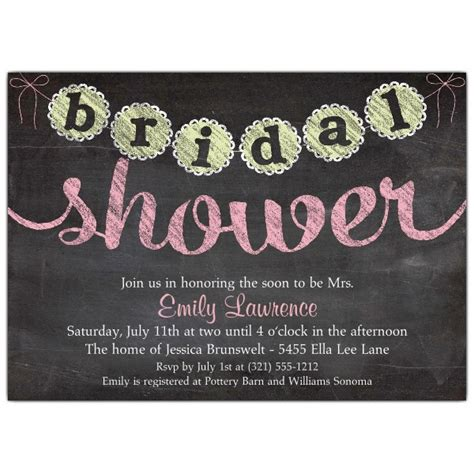 chalkboard style bridal shower invitations chalk banner bridal shower invitations paperstyle
