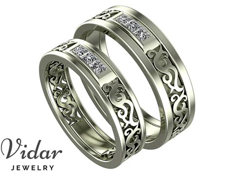 Wedding Bands Unique Matching by Unique Matching Wedding Bands Vidar Jewelry