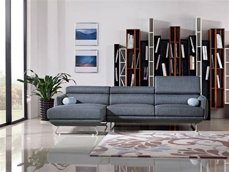 divani casa smith modern brown fabric sectional sofa divani casa modern blue fabric sectional sofa