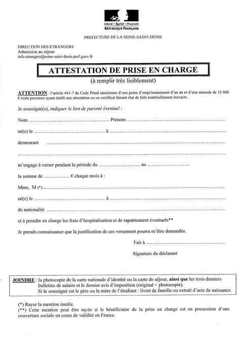 Lettre De Prise En Charge Visa modele attestation prise en charge document