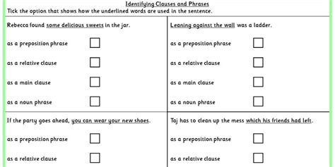 Identifying Clauses Worksheet by Identifying Clauses And Phrases Ks2 Spag Test Practice