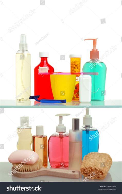 Shelf Of Medicine by Two Shelf Medicine Cabinet Toothbrush Soap Stock Photo