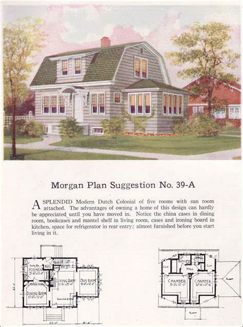 dutch colonial revival house plans 1923 dutch colonial revival gambrel roof morgan no 39 a