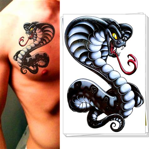 m theory evil cobra snake temporary tattoo body art flash
