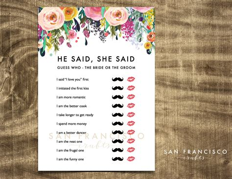 he said she bridal shower he said she said bridal shower by sanfranciscocrafts