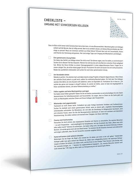 Musterbriefe Office Umgang Mit Schwierigen Situation Im Berufsalltag Checkliste Zum