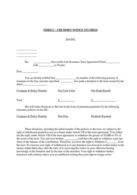 Crummey Letter Template by Best Photos Of Sle Crummey Letters Payment Demand