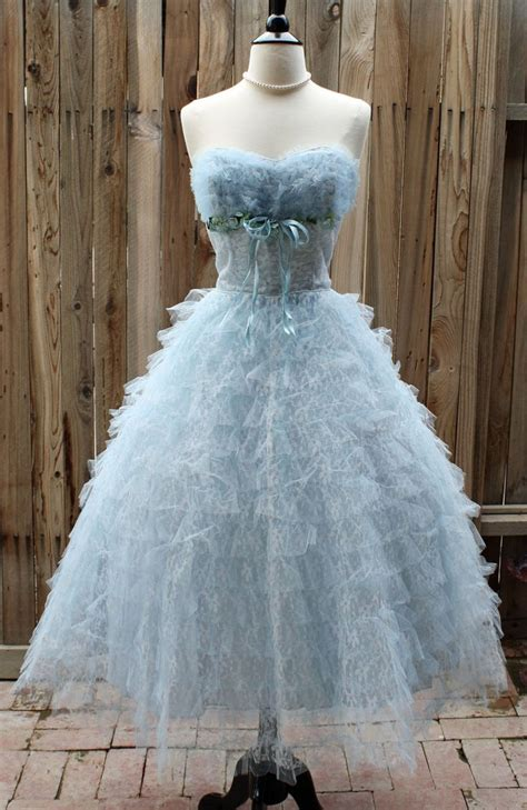 light blue tulle dress 1950s vintage baby blue tulle lace sweetheart gown