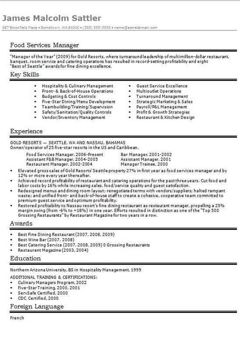 Food Service Manager Resume