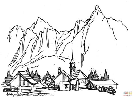 coloring pages for village village in the mountains coloring page free printable