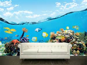 ocean wall stickers wall sticker mural ocean sea underwater decole film poster