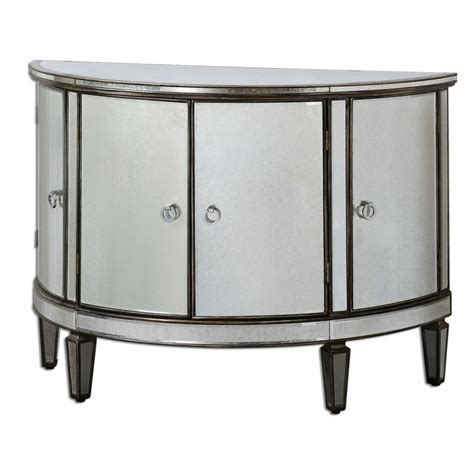 Uttermost Mirrored Furniture Uttermost 24376 Sainsbury Mirrored Console Cabinet