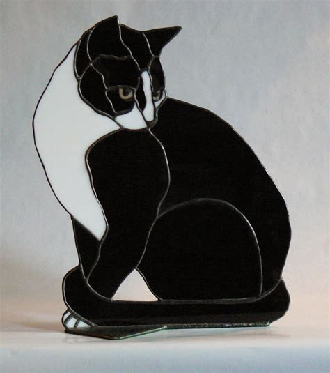 stained glass cat butch stained glass black and white cat