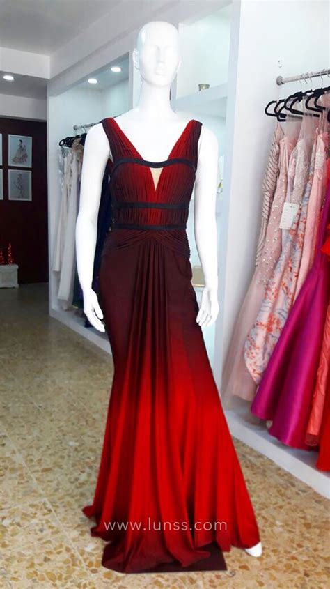 Dress Formal 1342 Tosca burgundy and ombre chiffon sleeveless plunging v neckline prom dress lunss couture