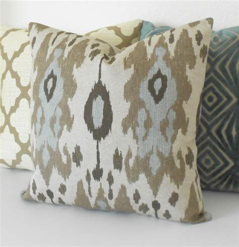 Blue And Brown Decorative Pillows by Ikat Decorative Pillow Cover Light Blue Brown And Grey