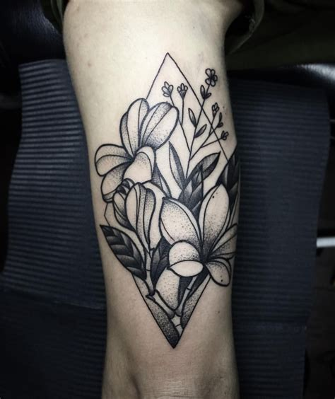 shape tattoos botanical bouquet with frangipani flowers and geometric