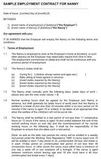 nanny contract template free nanny client sle contract doc pdf 8 page s