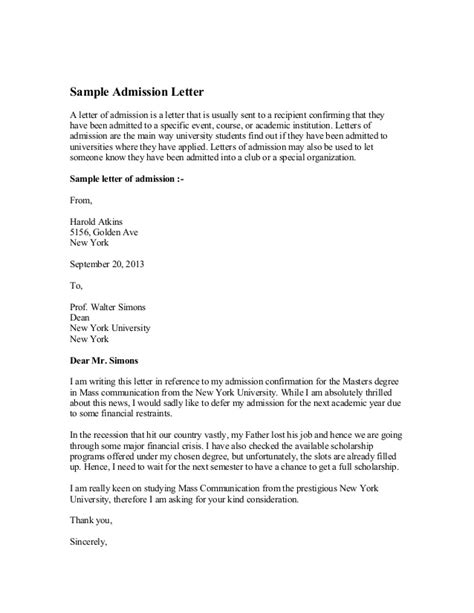 College Deferral Letter Sle Sle Admission Letter