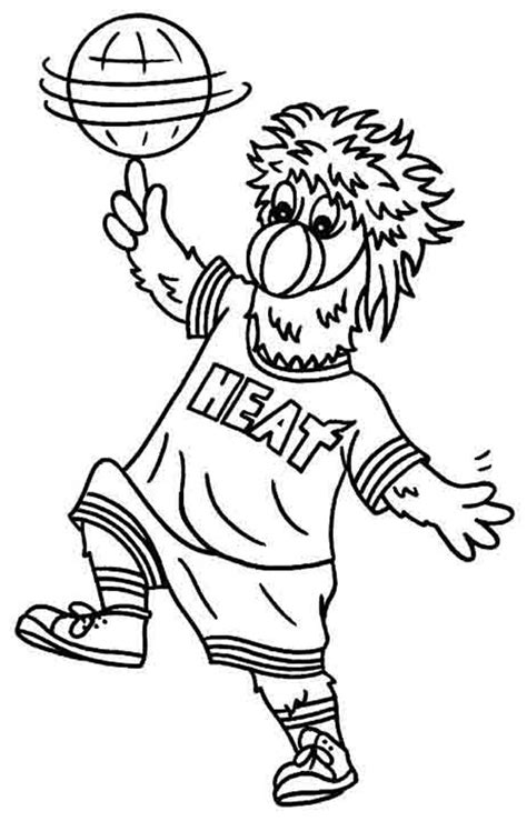 nba mascots coloring pages color burnie the official site of the miami heat
