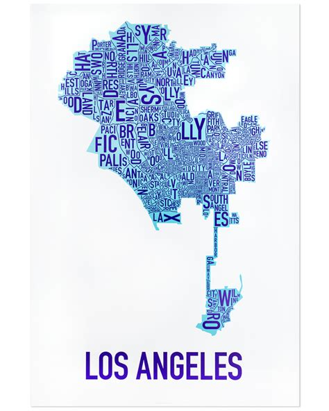 map of los angeles poster los angeles neighborhood map 24 quot x 36 quot rehabbed blue poster