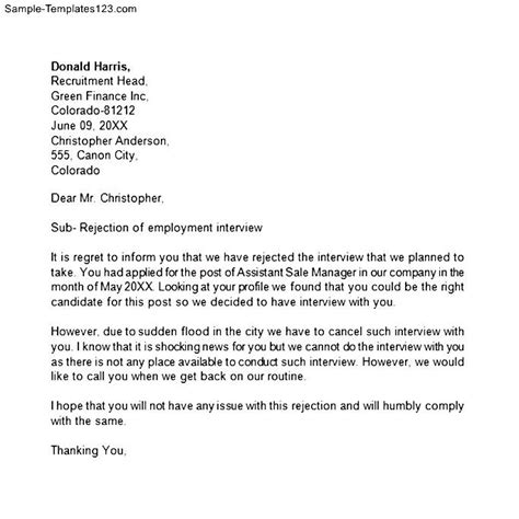 Rejection Letter Exles For After An Employment Rejection Letter After Sle Templates