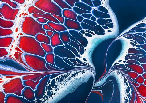 acrylic paint effects poured fluid acrylics and ink create a lacy pattern of