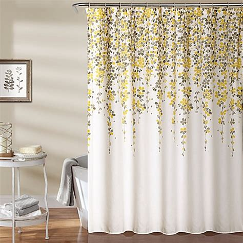 yellow floral shower curtain weeping flower 72 inch shower curtain in yellow grey bed