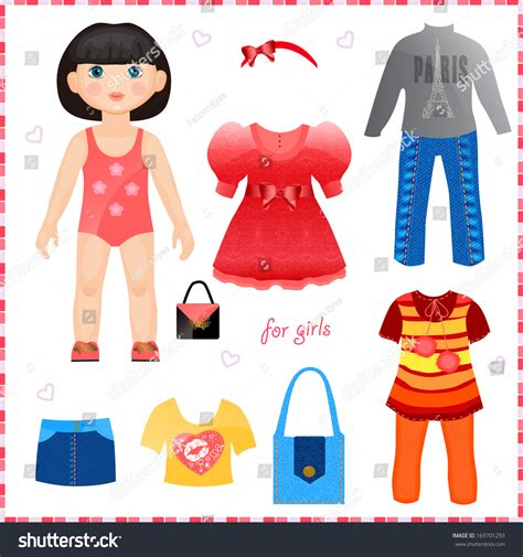 paper doll outfits stock photo image 36574600 paper doll set clothes cute fashion stock illustration