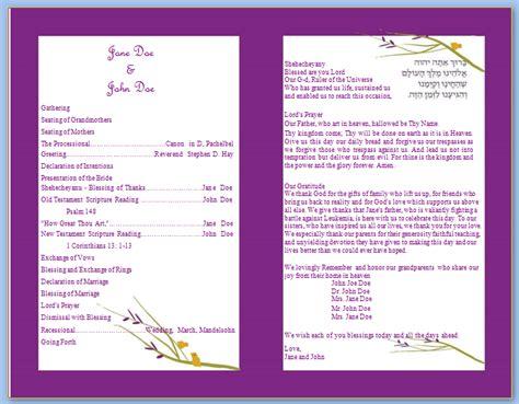 program templates wedding program templates free printable wedding program